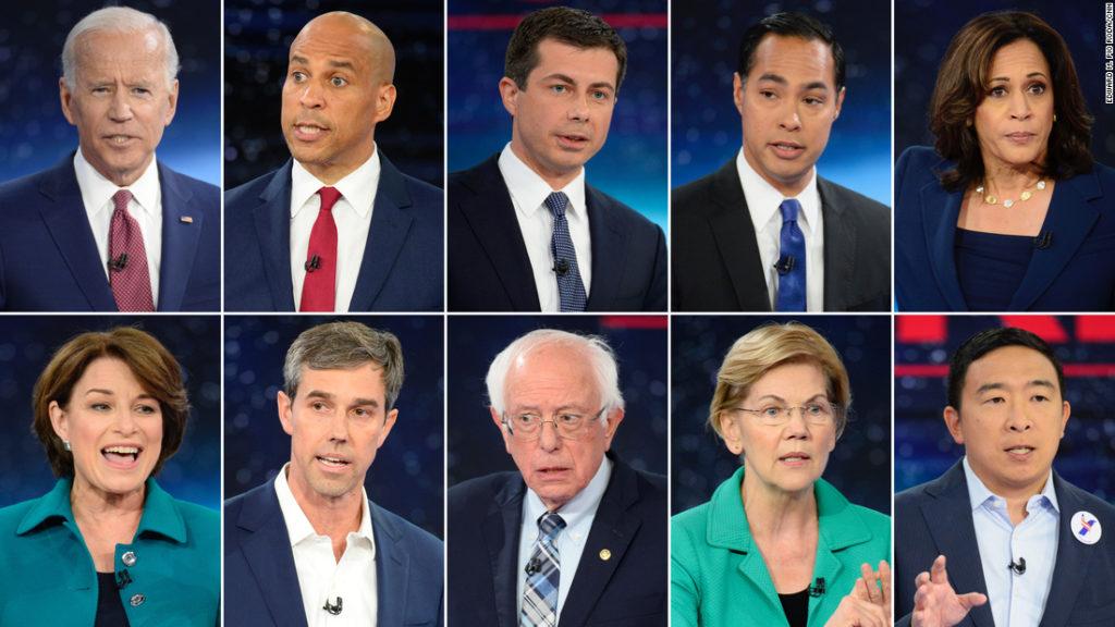 10 dei candidati alle primarie del partito democratico hanno partecipato a un dibattito sul cambiamento climatico organizzato dalla CNN