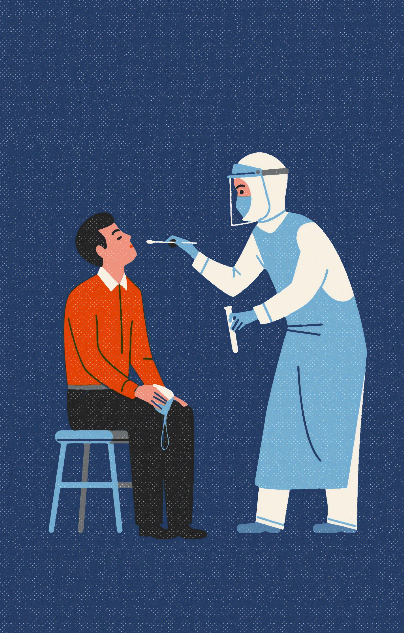 Una infermiera fa un tampone ad un uomo.
